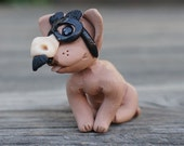 Chihuahua Dog in Groucho Marx Glasses Costume Polymer Clay Miniature Figure