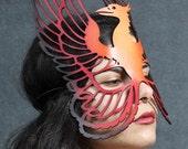 Phoenix leather mask in oranges