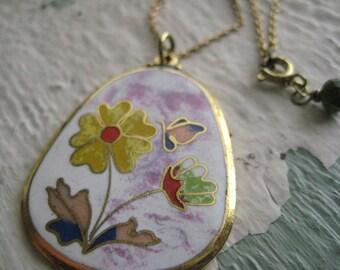 Spring Flower Necklace No. 2- Brass, Vintage, Enamel Pendant