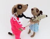 Doctor meerkat in surgical scrubs, handknitted, medic, meercat, veterinarian, pink