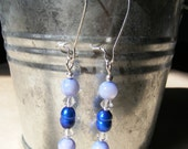Blue freshwater pearl and light sapphire earrings