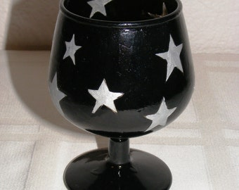 Hand painted mini brandy snifter glass candle holder, silver stars on black