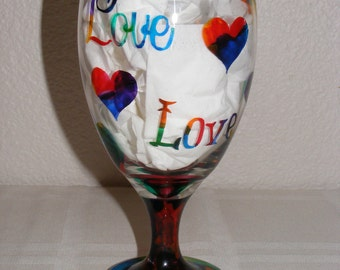 Hand painted 'tie dye' love and hearts glass