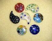 Seven Millefiori Glass Bead Pendants drilled
