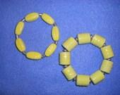 Yellow Textured Ceramic beaded stretch bracelet