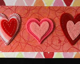 Checkbook Cover Vinyl Unique Handmade Red Hearts