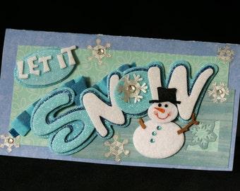 Checkbook Cover Vinyl Unique Handmade Snowman Design