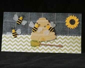 Checkbook Cover Handmade Clear Vinyl Honey Bee Design