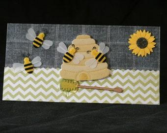 Checkbook Cover Handmade Clear Vinyl Queen B Honey B  Bee Hive Design