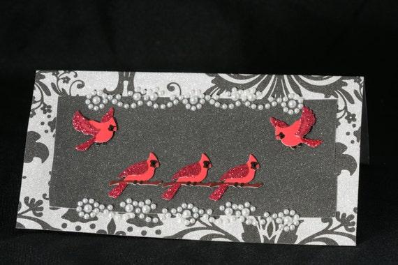 Designer Checkbook Cover Unique Handmade Red Cardinals