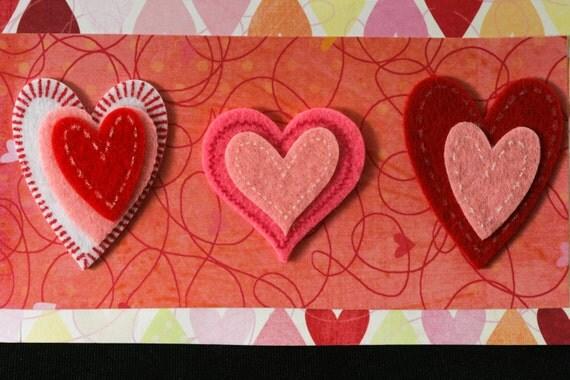 Checkbook Cover Vinyl Unique Handmade Red Hearts