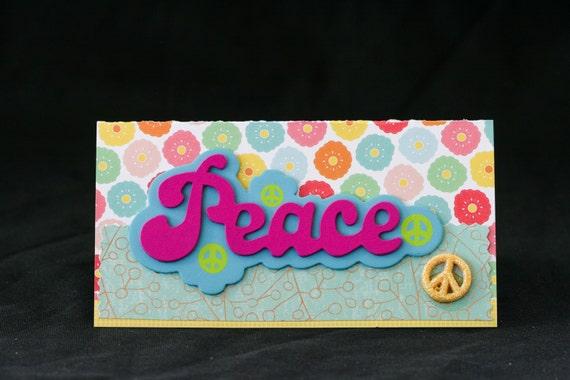 Checkbook Cover  Clear Vinyl Unique Handmade Peace