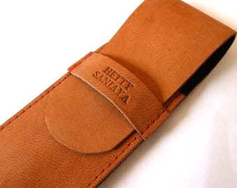 Personalised Leather Pen Case, Dark Orange (2 pens), engraved