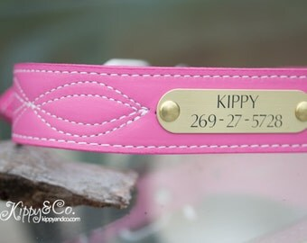 Personalized Leather Dog Collar // Stitched Leather Dog Collar // Pink Leather Collar // Large Dog Collar // Dog Collar // Leather Collar