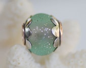 AZ Lampwork Handmade Forged Sterling Silver Capped Copper Core Velvet Silver Mint Round Slider Bead  SRA