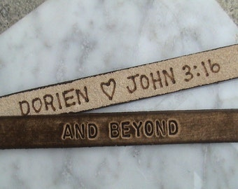 Extra Feature Only - Pyrography - Secret message branding on the interior of genuine leather items - WRISTBAND NOT INCLUDED