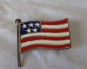 VINTAGE Enamel Silver Metal Flag Costume JEWELRY Brooch Pin