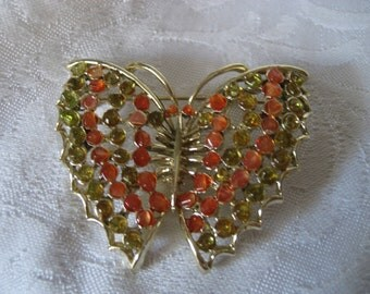 VINTAGE Stone Gold Metal Butterfly Costume Jewelry Brooch