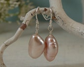 Baroque Freshwater Pearls Earring Champagne Pearls Sterling Silver