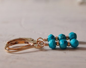 Dainty Turquoise Earrings AZ Turquoise Gold Filled