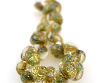 5 Teardrop Handmade Lampwork Beads Glitter series Enchanted (22098)