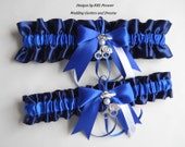 Police Wedding Garters Thin Blue Line Navy Blue and Royal Blue Garters