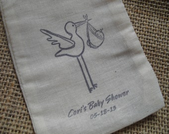 Personalized Baby Shower Stork Favor Bags Gift Bags or Candy Bags 4x6 - Set of 10 - Item 4M1523