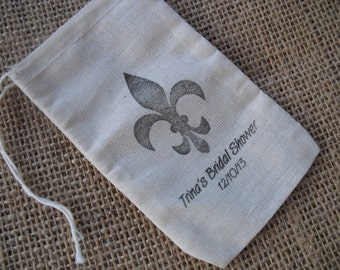 Personalized Vintage Style Fleur de Lis Wedding Shower Muslin Favor Bags Gift Bags or Candy Bags 3x5 - Item 3M1175