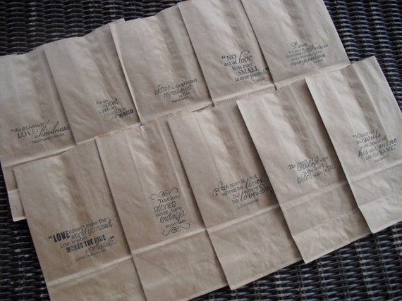 Wedding Favor Kraft Paper Bags Coffee bags Cookie Bags Candy Buffet ...