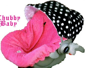 Infant Car Seat Cover, Baby Car Seat Cover in Black and White Polka Dots