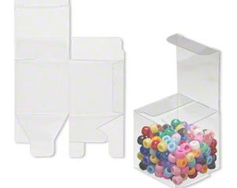 20 Pack Clear Plastic Tuck Top Style Packaging Retail Gift Boxes 2X2X2 Inch Size