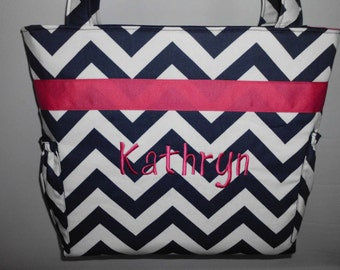 CHEVRON  in NaVY ..  Hot Pink  Accents  ...   Diaper Bag .... TOTE .. Bottle Pockets ... Monogrammed  FReE