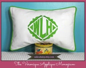 The Veronique Applique Framed Monogrammed Pillow Cover - 12 x 18 lumbar