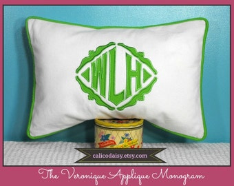 The Veronique Applique Framed Monogrammed Pillow Cover - 12 x 20 lumbar