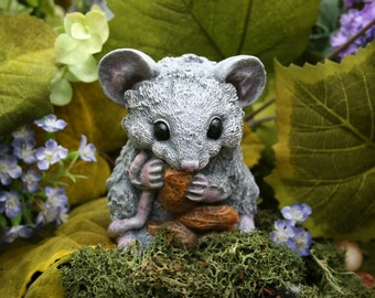 Fairy Garden Mouse Statue - Concrete Rat / Mouse Eating Peanuts