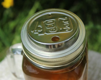 SALE Stainless steel sippy cup top for mason jars for to-go drinks [regular size mouth]
