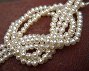 Vintage Japanese Faux Pearls - Full Strand - 4mm - 11 inches - c.1940s