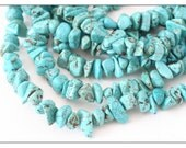 Nevada Turquoise bead strand, genuine turquoise stone beads, full strand nugget chips, robins egg blue large stone chips, nugget beads, SALE