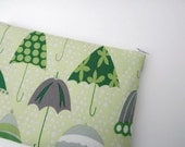 Slim Makeup Bag in Green Retro Umbrellas