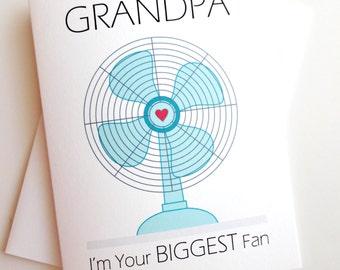 Biggest Fan Grandpa Card - Birthday - Father's Day - Dad's Day