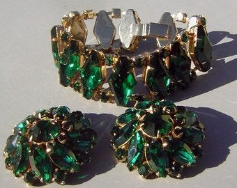 Big Green Rhinestone Demi Parure Set Vintage 50s - Chunky Bracelet and Earrings Juliana D & E