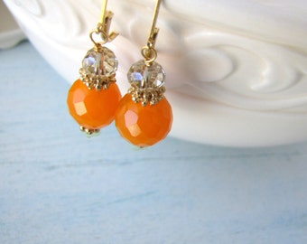 Orange and Teal Earrings with Gold Accents FREE SHIPPING
