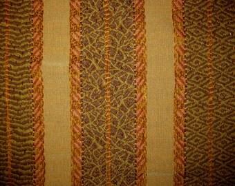 Ethnic Tapestry Chenille Stripe Harden Designer Fabric Sample Earth Upholstery