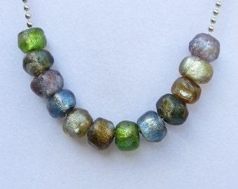 12 Shard Size Pastel Jewel Tone Series, Handmade Lampwork Basha Beads, Soft Jewel Colors, Antique Look, Statement Art Beads