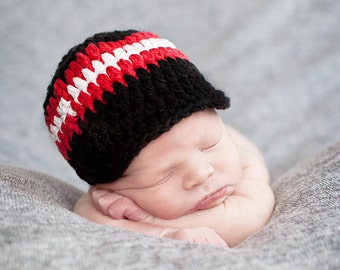 Baby Boy Hat 0 to 3 Month Black Baby Hat Red White Baby Boy Clothes Baby Boy Cap Baby Boy Gift Hospital Hat Baby Hat Boy Visor Crochet