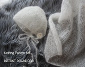 Mohair-Silk Lace Weight Bonnet and Mini Blanket Knitting Pattern Number 147 -- INSTANT DOWNLOAD -- Over 35,000 patterns sold