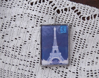 One of a Kind Reversible Pendant - Eiffel Tower - Bargain - Less than We Paid
