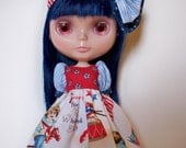 Blythe Doll Dress, Red, White, Blue, Tan, Brown, Gold, Black, Floral Patriotic Print,  Short Puff Sleeve Dress Double Bow Headband