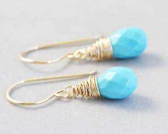 Turquoise Drop Earrings, Blue Stone Earrings, December Birthstone, Sleeping Beauty Tourquoise