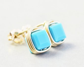 Turquoise Studs, Square Crystal Posts, Aqua Studs, Turquoise Post Earrings
